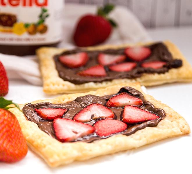 Strawberry Nutella Tart Using Puff Pastry
