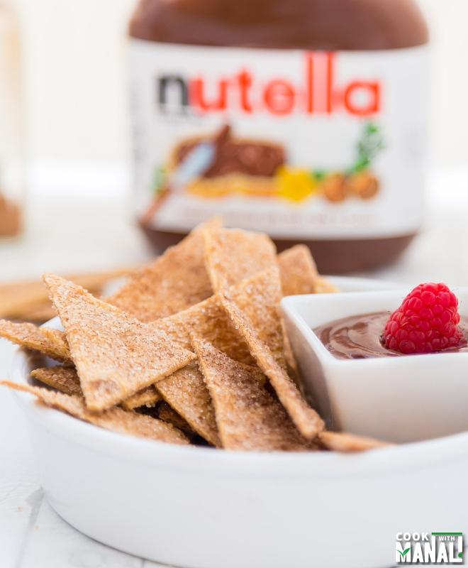 Cinnamon Sugar Tortilla Chips With Easy Nutella Dip