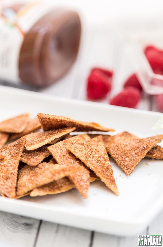 Cinnamon Sugar Tortilla Chips With Nutella Dip