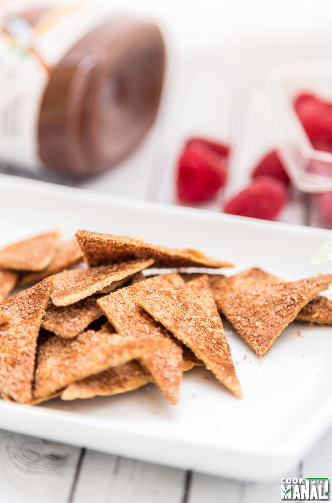 Cinnamon Sugar Tortilla Chips With Nutella Dip
