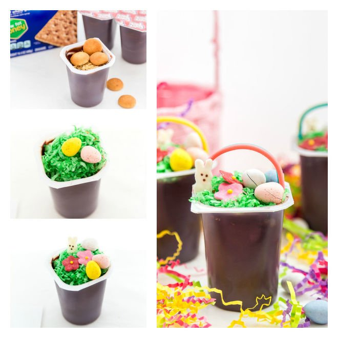 Easter Basket Pudding Cups Recipe Steps