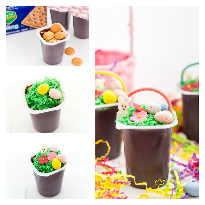 Easter Basket Pudding Cups Recipe Steps