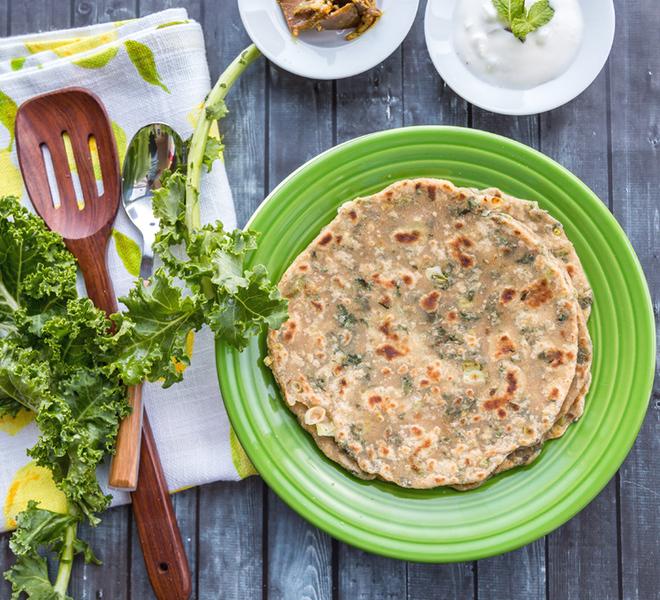 Kale Paratha With Scallion