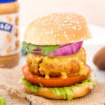 Peanut Butter Sweet Potato Lentil Burger With Avocado Sriracha Sauce
