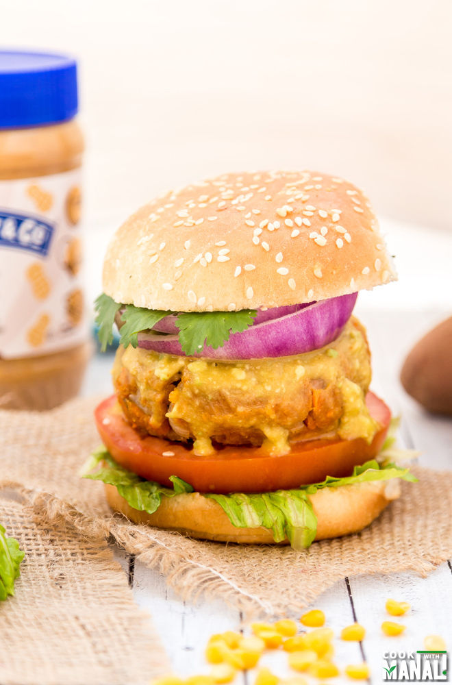 Peanut Butter Sweet Potato Lentil Burger With Avocado Sriracha Sauce