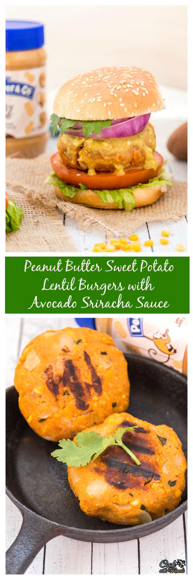 Peanut Butter Sweet Potato Lentil Burgers with Sriracha Sauce collage-nocwm