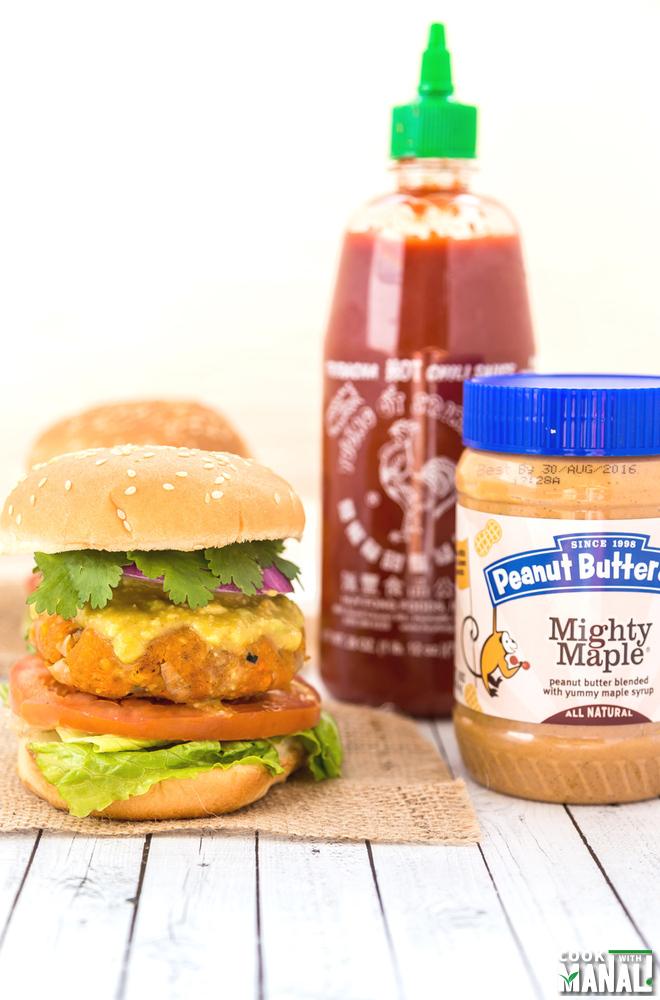 Sweet Potato Peanut Butter Lentil Burgers with Sriracha Sauce