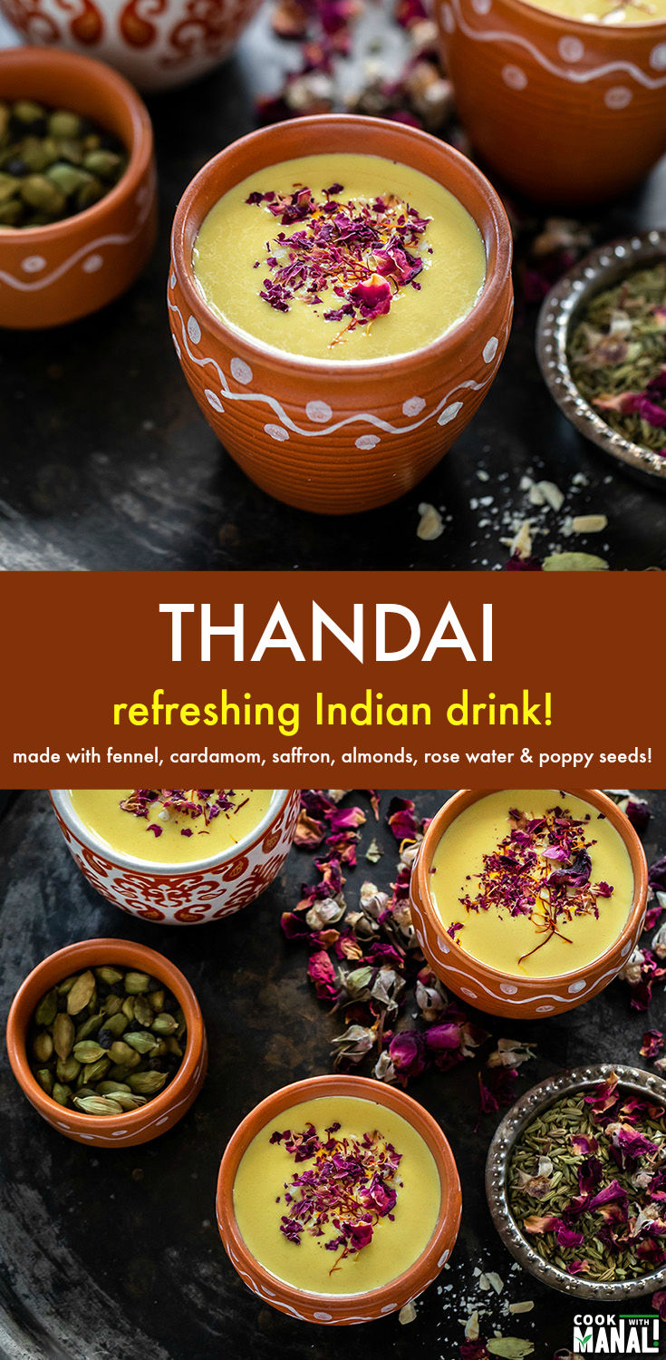 Thandai is a refreshing Indian drink made with milk, peppercorn, almonds, fennel seeds, poppy seeds, cardamom, saffron and rose! It's especially served during the festival of Holi. #indian #drink