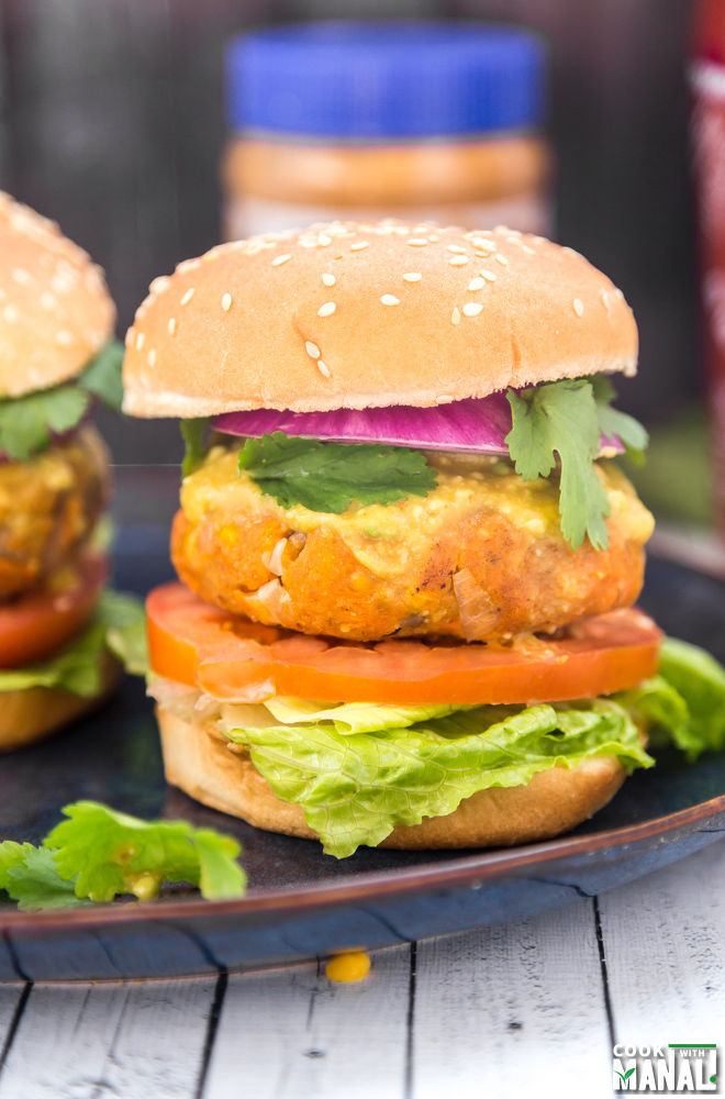 Vegan Peanut Butter Sweet Potato Lentil Burger