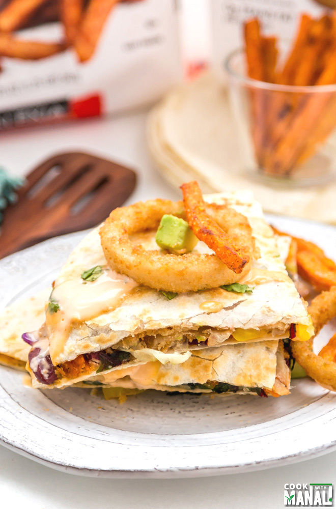 Black Bean Vegetarian Quesadillas With Onion Rings & Fries