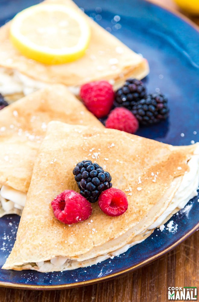 Lemon Crepes with Berry Sauce