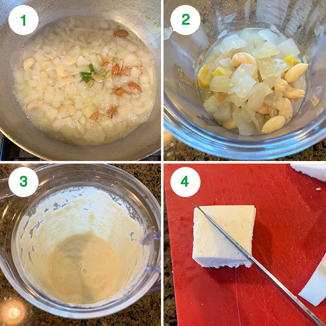 step by step picture collage of making shahi paneer
