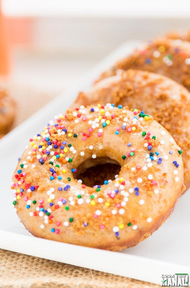Vanilla Donuts Baked with Biscoff Glaze