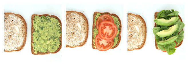 Avocado Tomato Sandwich with Baby Spinach Recipe