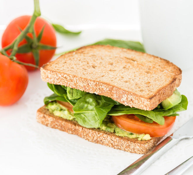 Avocado Tomato Spinach Vegetarian Sandwich