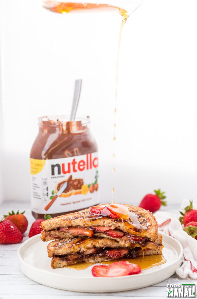 Nutella French Toast with Strawberries - Cook With Manali