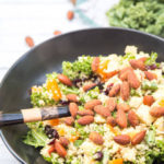 Quinoa Kale Salad with Sriracha Almonds