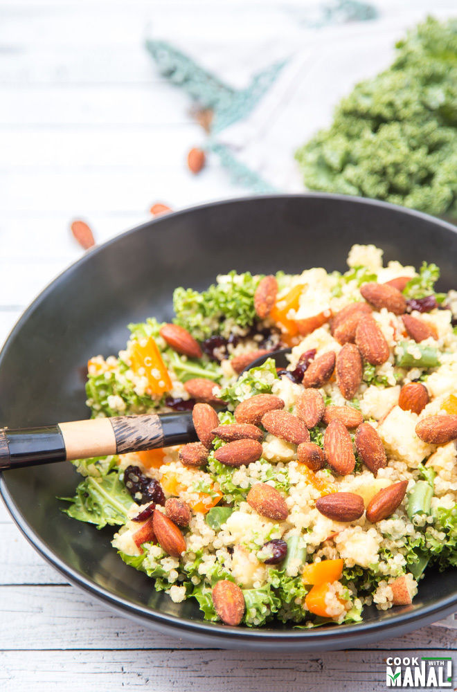 Quinoa Kale Salad with Sriracha Almonds