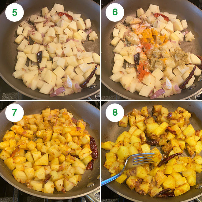 step by step pictures of making aloo palak