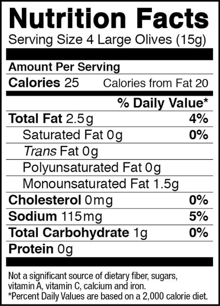 California Black Olives Nutrition Facts-nocwm