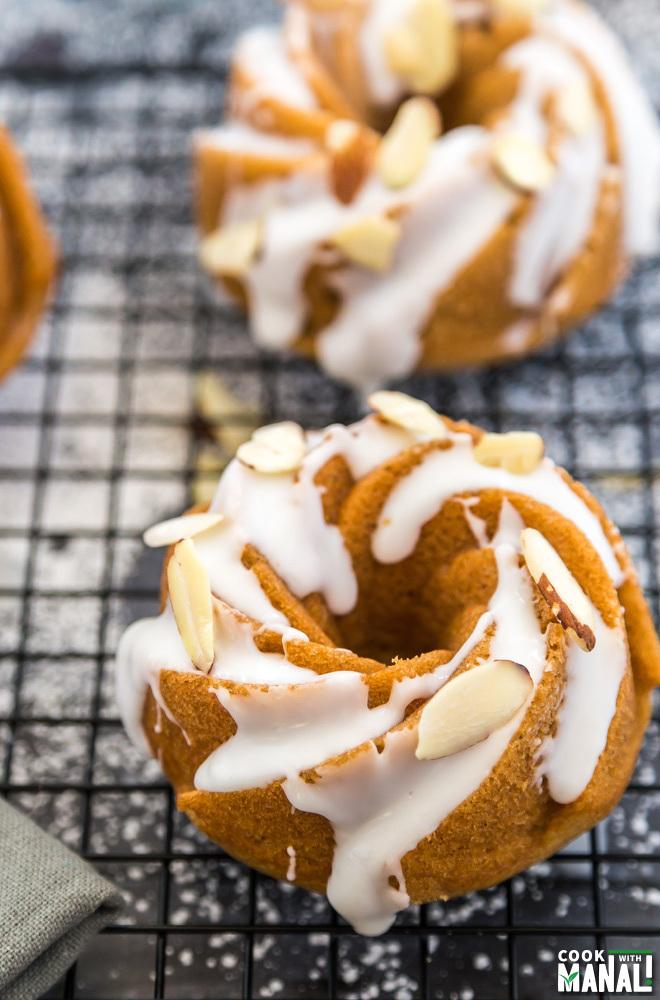 Cinnamon Mini Bundt Cakes with Almond Glaze