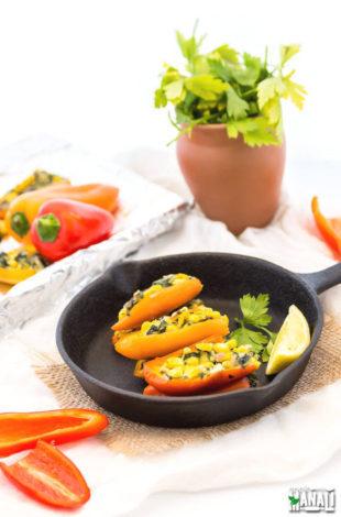 Corn Spinach Stuffed Mini Pepper