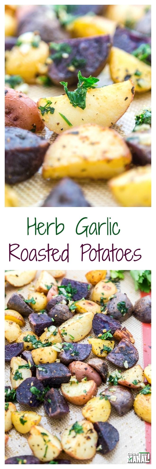 Herb Garlic Roasted Potatoes Collage