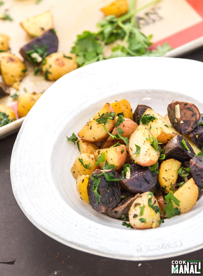 Herb Garlic Roasted Potatoes - Cook With Manali