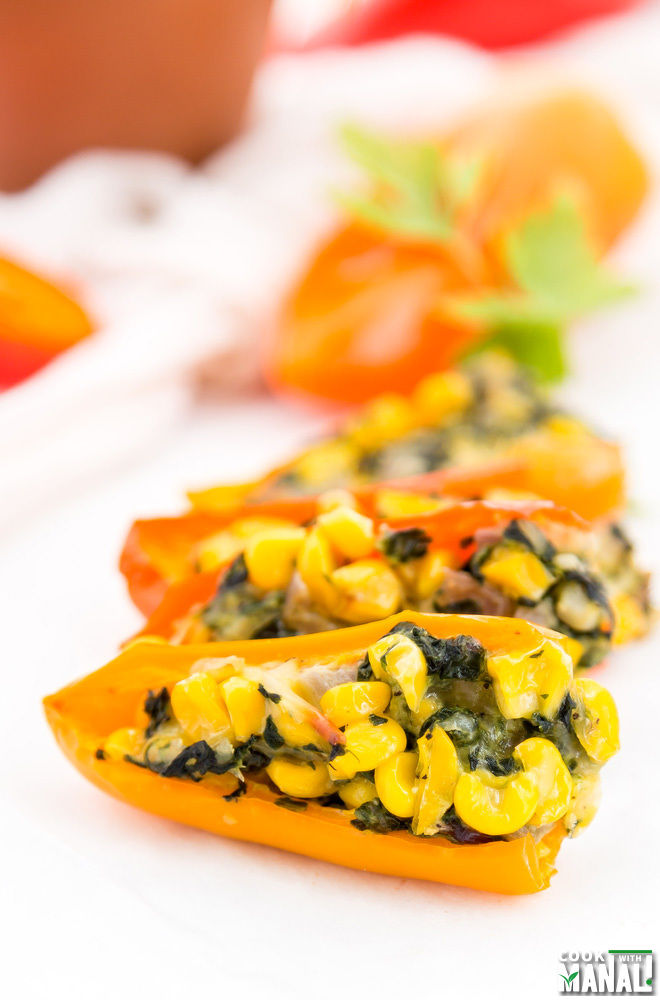 Spinach Cheese Stuffed Mini Peppers
