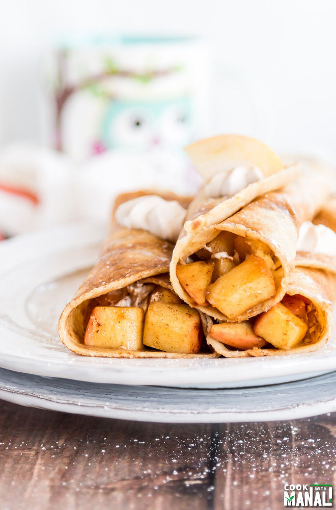 Brown butter crepes filled with Apple Cinnamon and Cinnamon Whipped ...