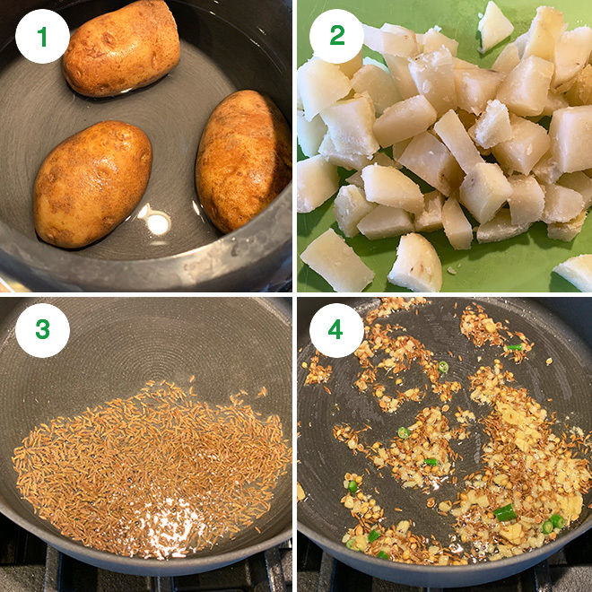 step by step pictures to make jeera aloo