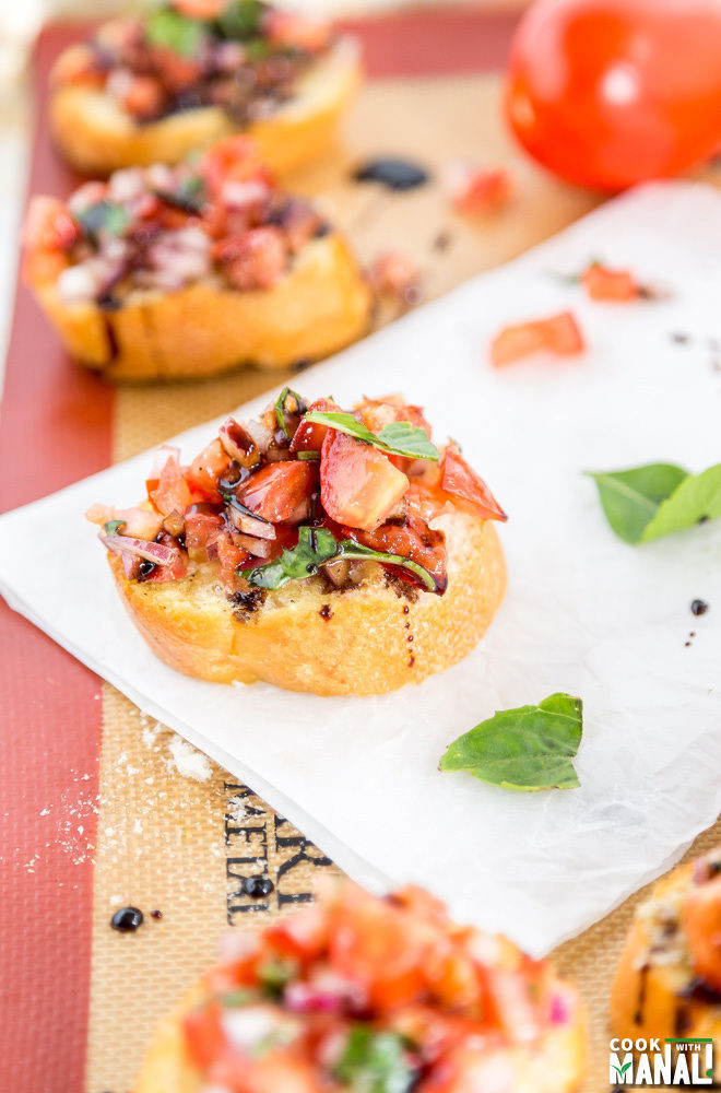 Onion Tomato Bruschetta with Balsamic Reduction