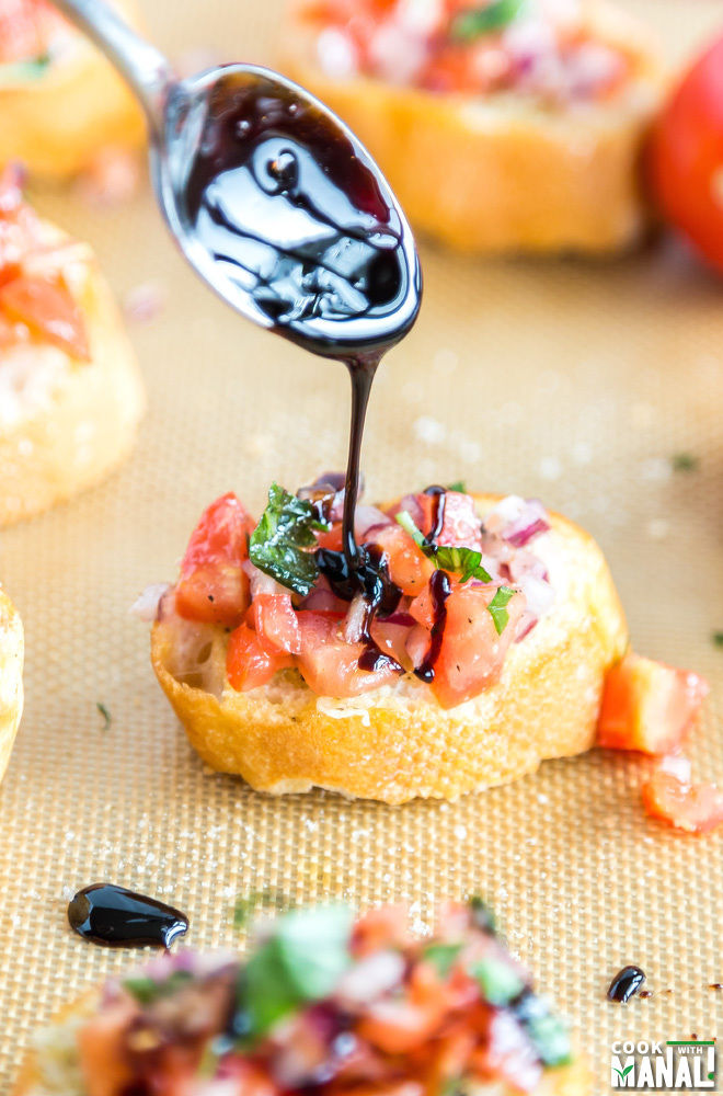 Tomato Onion Bruschetta with Balsamic Reduction