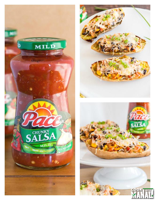 Vegetarian Sweet Potato Skins with Pace Salsa