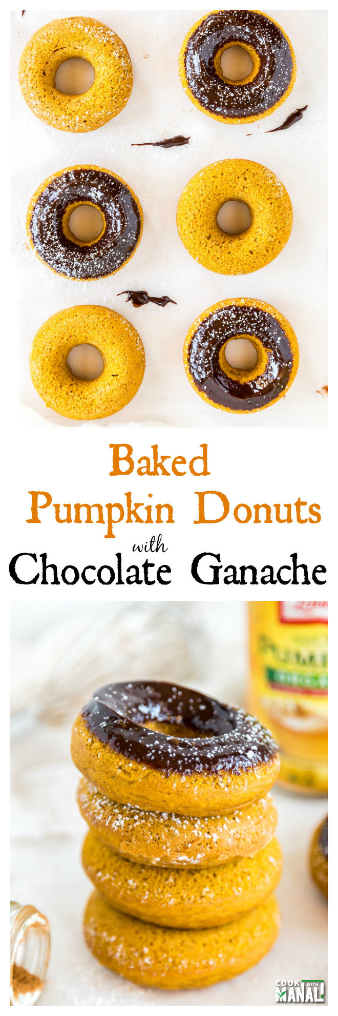Baked Pumpkin Donuts with Chocolate Ganache collage