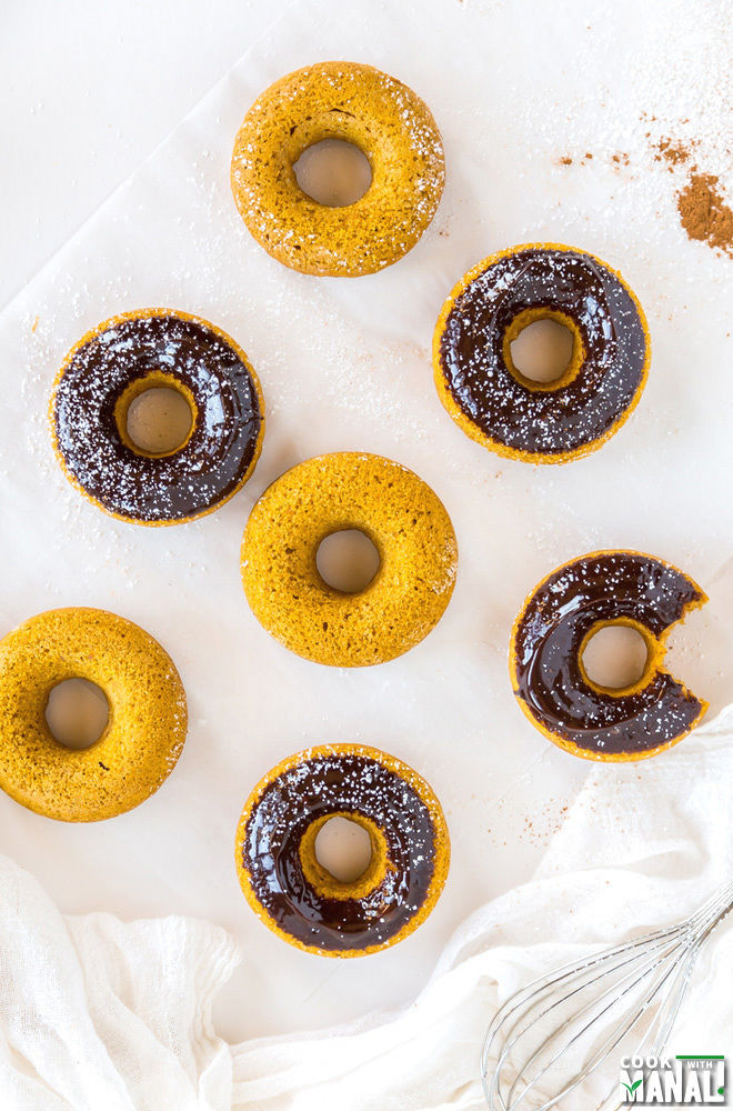 Baked Pumpkin Donuts with Chocolate Ganache