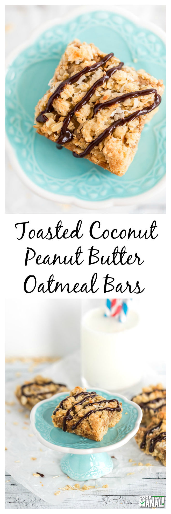 Coconut Peanut Butter Oatmeal Bars Collage