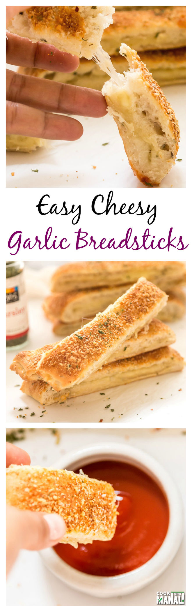 Easy Cheesy Garlic Bread Sticks Collage