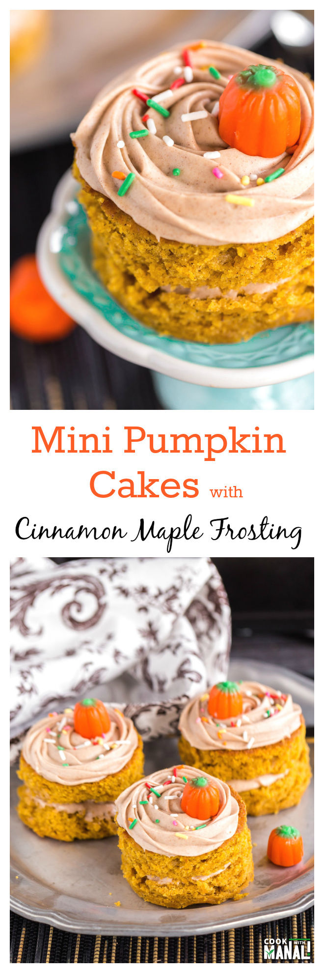 Mini Pumpkin Cakes Collage
