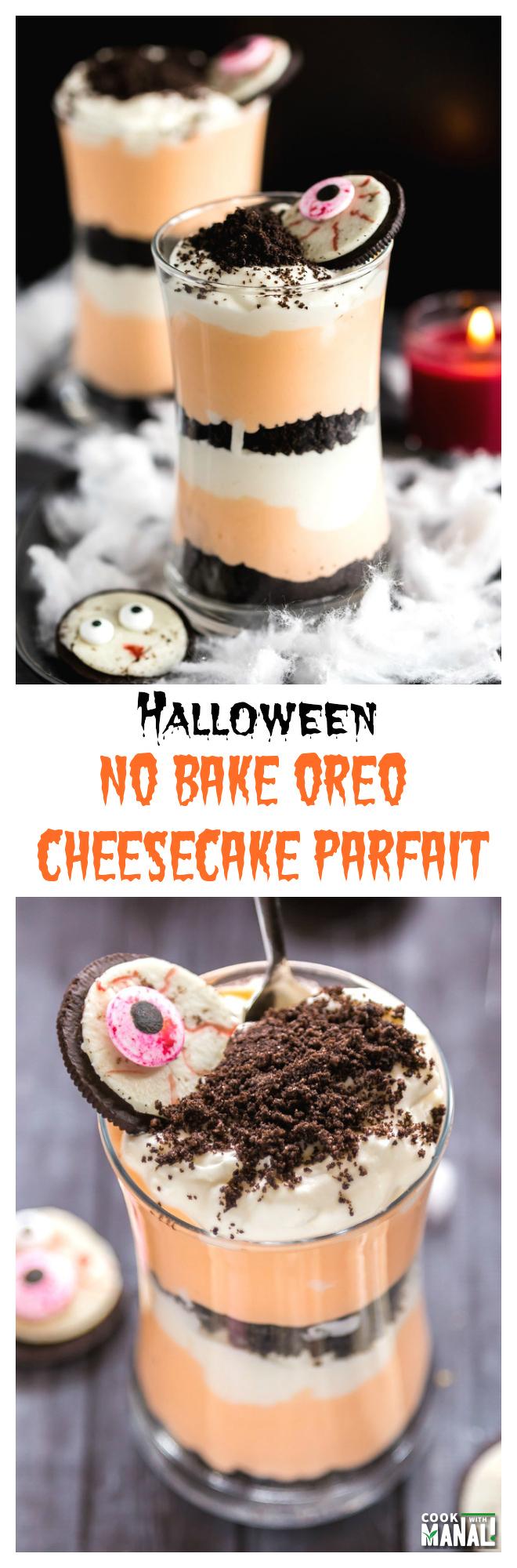 No Bake Oreo Cheesecake Parfait for Halloween Collage