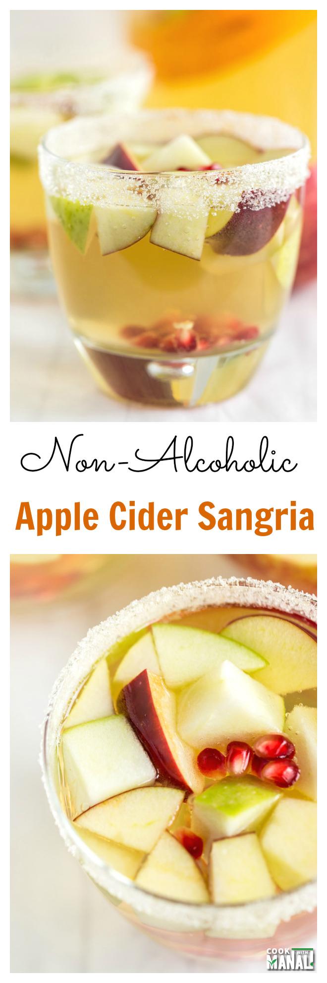 Non Alcoholic Apple Cider Sangria Collage