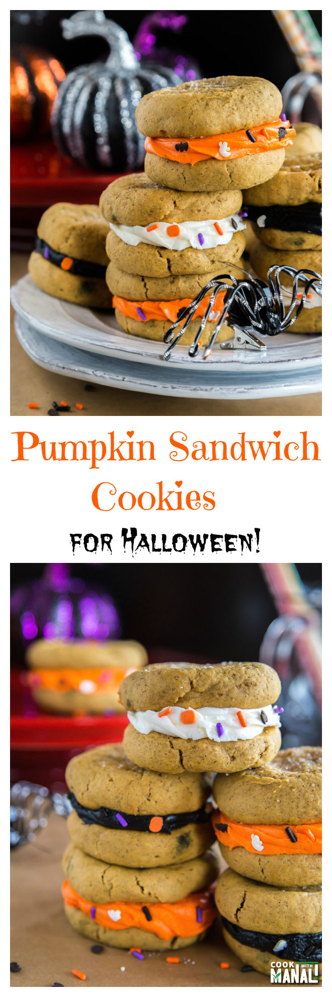 Pumpkin Sandwich Cookies for Halloween Collage