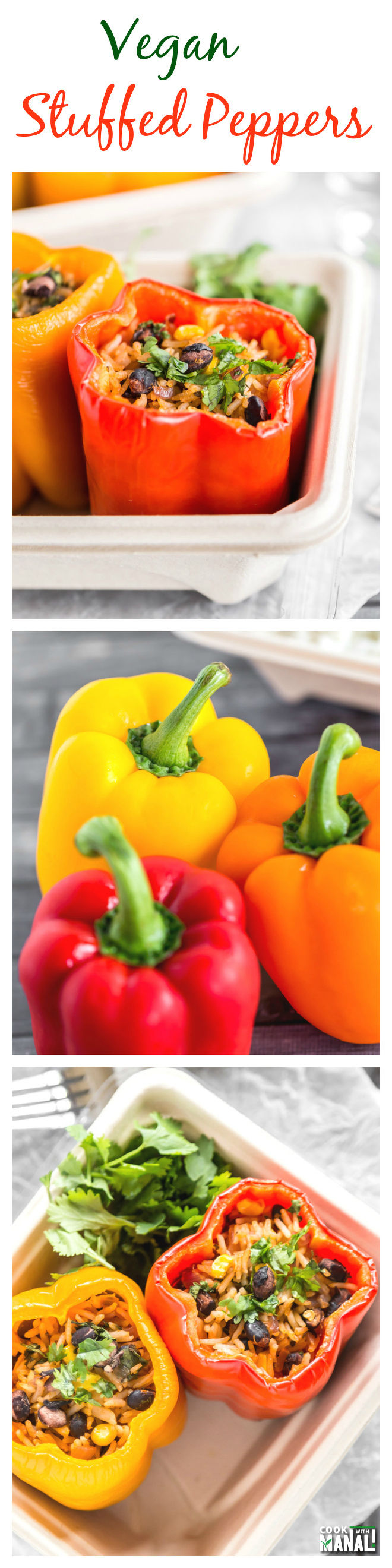 Vegan Stuffed Peppers Collage