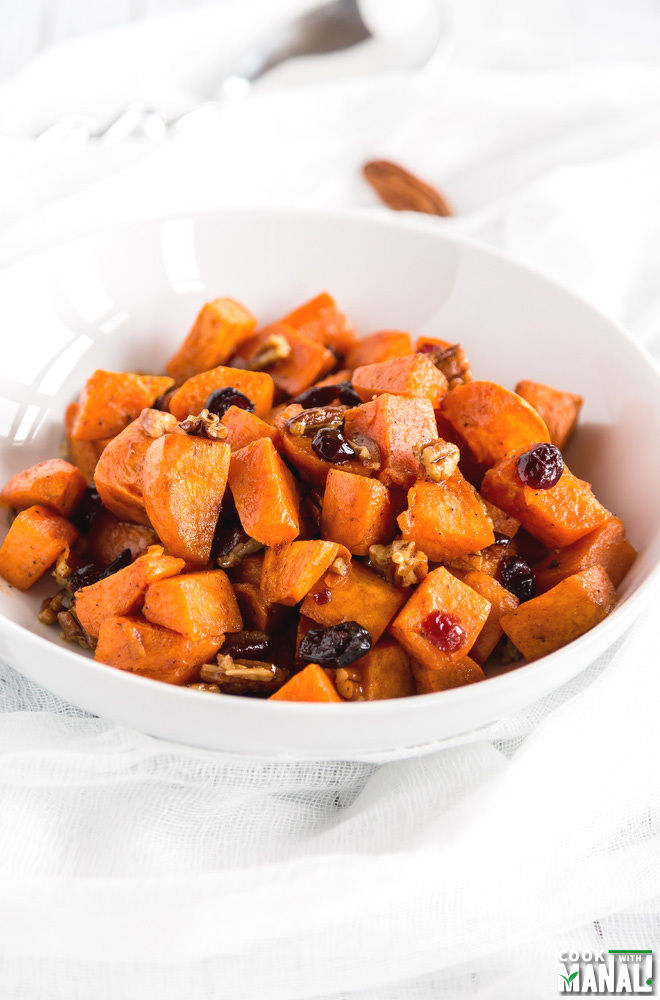 Brown Butter Sweet Potatoes with Maple Pecan & Cranberries