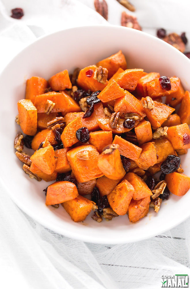 Brown Butter Sweet Potatoes with Maple & Pecans - Cook With Manali