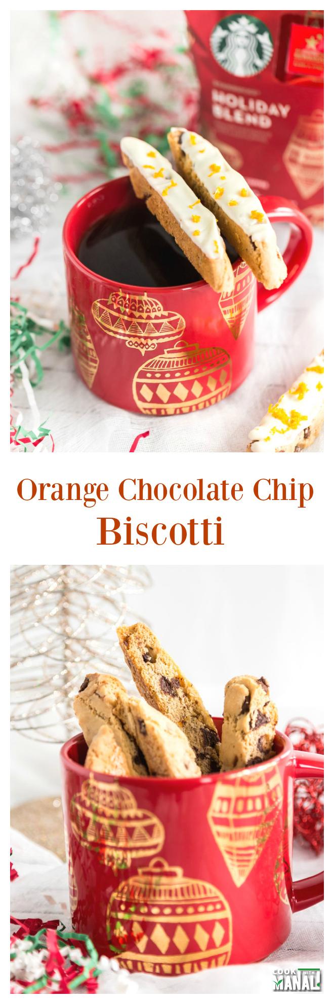 Homemade Orange Chocolate Chip Biscotti Collage