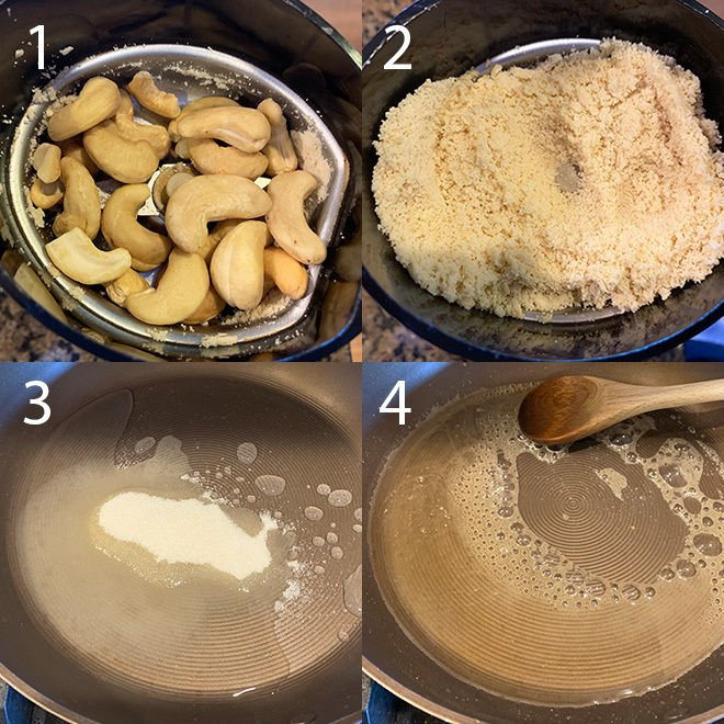 step by step picture collage of making kaju katli at home
