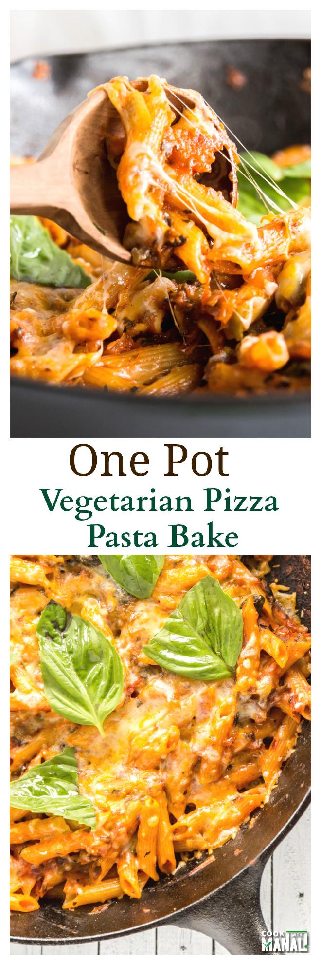 One Pot Vegetarian Pizza Pasta Bake Collage