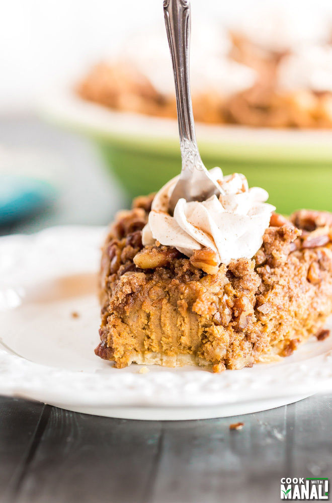 Pecan Streusel Pumpkin Pie with Cinnamon whipped Cream