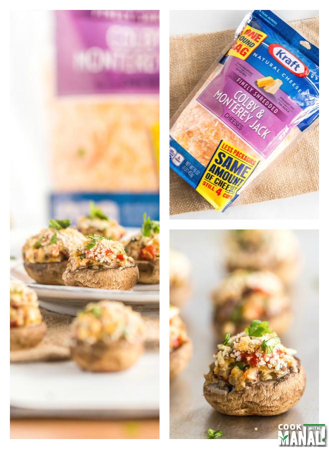Vegetarian Stuffed Mushrooms with Kraft Natural Shredded Cheese